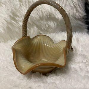 Vintage Fenton Ruffled Basket